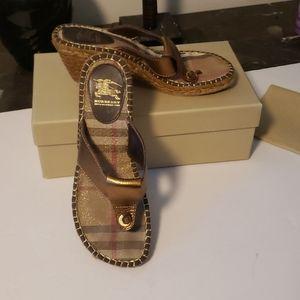 Burberry Espadrille Wedge Sandal Size 9